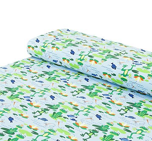 Nadeltraum Tela de algodón – Jersey de ranas ranas – azul claro – se vende por metros a partir de 25 cm x 150 cm – tela para coser