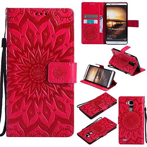 pinlu® PU Leder Tasche Etui Schutzhülle für Huawei Ascend Mate 7 (6 Zoll) Lederhülle Schale Flip Cover Tasche mit Standfunktion Sonnenblume Muster Hülle (Rot)