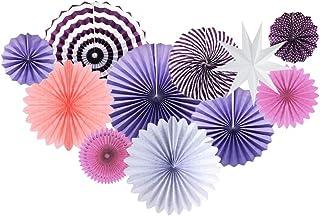 11Pcs Party Decprations Paper Fans Star Bridal Shower Birthday Photo Backdrop Wedding Supplies Purple Set