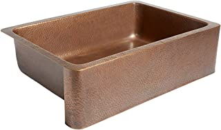 Adams Farmhouse Apron Front Handmade Copper Kitchen Sink 33 in. Single Bowl in Antique Copper