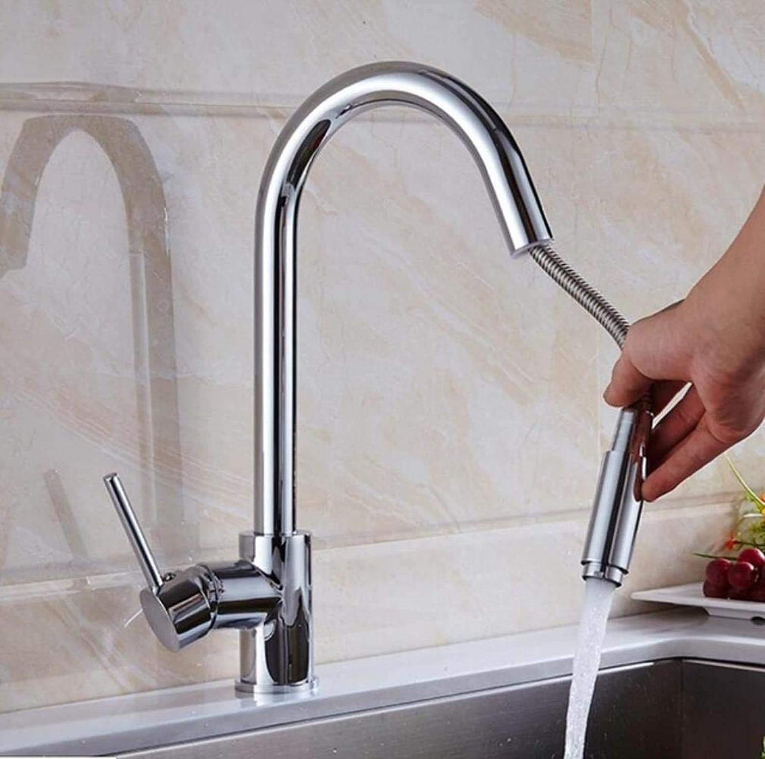 Kai&Guo Pull Out Kitchen Faucet gold Chrome black Brushed Sink Mixer Tap 360 degree redation kitchen mixer taps Kitchen Tap,chrome
