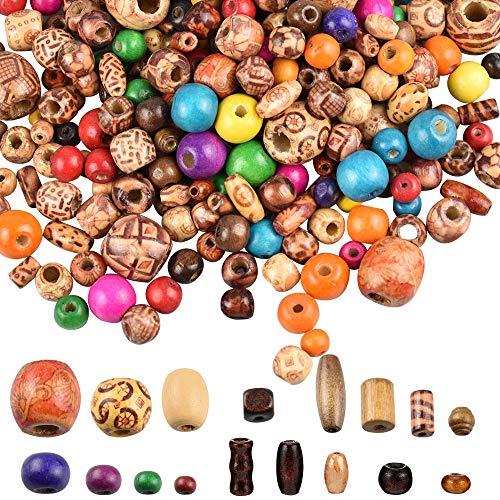 LYTIVAGEN 800 Pezzi Perline in Legno Naturale Mini Perline Stampate Branelli Misti per Creazione Gioielli Collane Braccialetti Bigiotteria DIY (Colore Casuale)