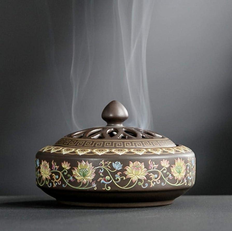 アンデス山脈意志に反する代わりにを立てるYONIK 香炉 渦巻き線香ホルダー 蚊取り線香ホルダー 線香入れ 磁器 香皿 蓋付き 難燃綿付き 和風