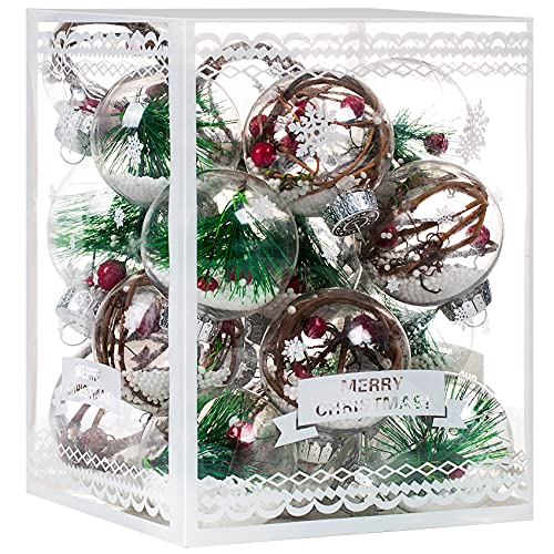 Christmas Ornaments Ball Set-Shatterproof Clear Plastic Decorative Baubles for Xmas Tree House Holiday Wedding Party Decoration,19Pcs (Pine Needle)