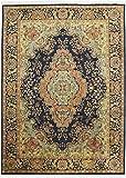Nain Trading Indo Täbriz 347x251 Orientteppich Teppich Dunkelgrau/Beige Handgeknüpft Indien