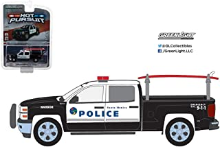 NEW 1:64 GREENLIGHT HOT PURSUIT SERIES 22 ASSORTMENT - BLACK WHITE 2015 CHEVROLET SILVERADO - SANTA MONICA POLICE DEPARTMENT Diecast Model Car By Greenlight