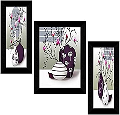 SAF Set of 3 Flower Pot UV Textured Floral Design Home Decorative Gift Item Frame Painting 6 Inch X 13.5 Inch , 10.5 Inch X 13.5 Inch , 6 Inch X 13.5 Inch SANFS31368