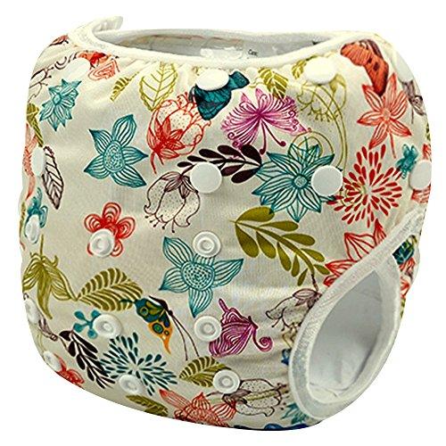 Sijueam Couche de bain bébé Lavable ajustable Maillot pour Piscine Natation Unisexe Imperméable Culotte Anti-fuite 0-18 mois/10-18 kg Fleurs et papillons
