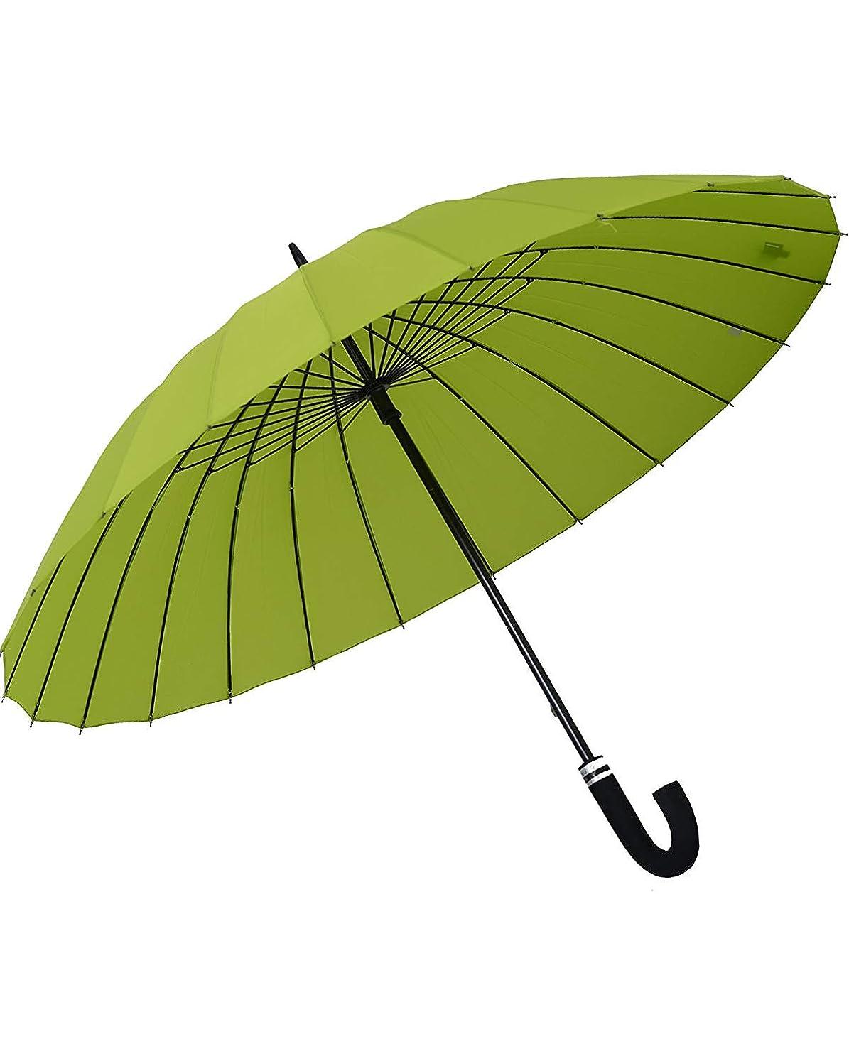 救出混沌そうでなければOrienex 長傘 レディース傘 高強度24本骨 紳士傘 雨に濡れると花が浮き出る 全14色 (緑)