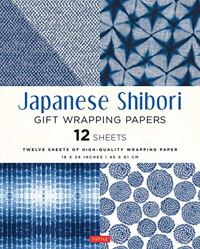 Japanese Shibori Gift Wrapping Papers - 12 Sheets: High-Quality 18 x 24 inch (45 x 61 cm) Wrapping Paper