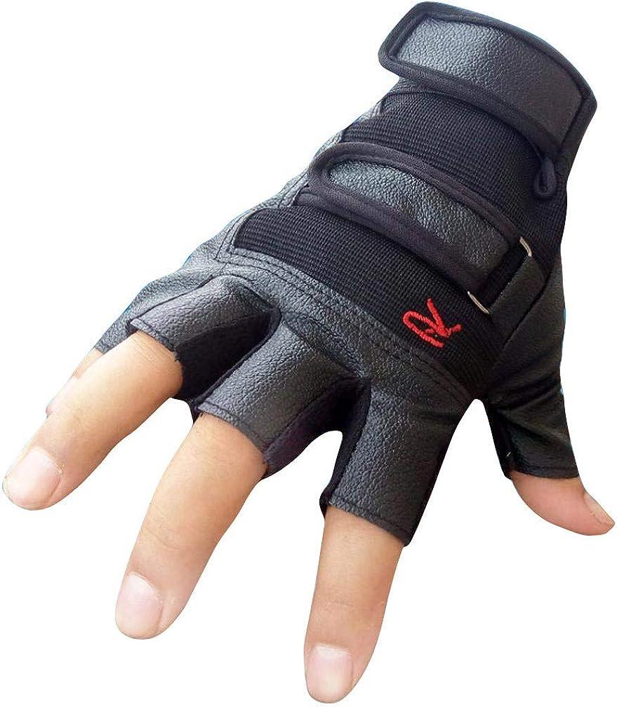 YOMXL Men's Gym Fitness Rowing Gloves Outdoor Half Finger Leathe