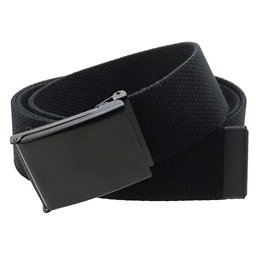 Canvas Web Belt Flip-Top Black Buckle Tip Solid Color 50