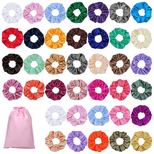 80 Pièce Multicolore Bandes Cheveux Élégant Bands Ties Chouchous Pour Cheveux En Satin Élastiques