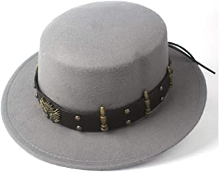 SAIPULIN-AU Men's and Women's Flat Top Cap Fedora Ms. Fascinator Casual Wild Style British Style Top Hat Fedora Hat Gentleman Daddy Church Hat (Color : Gray, Size : 56-58)