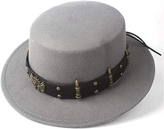 Pork Pie Hat Fedora Trilby Women Men Wool Flat Top Fedora Hat Steampunk hat Wide Brim Church Hat Outdoor Fascinator Casual Wild Hat Bowler Hat Size 56-58CM (Color : Gray, Size : 56-58)