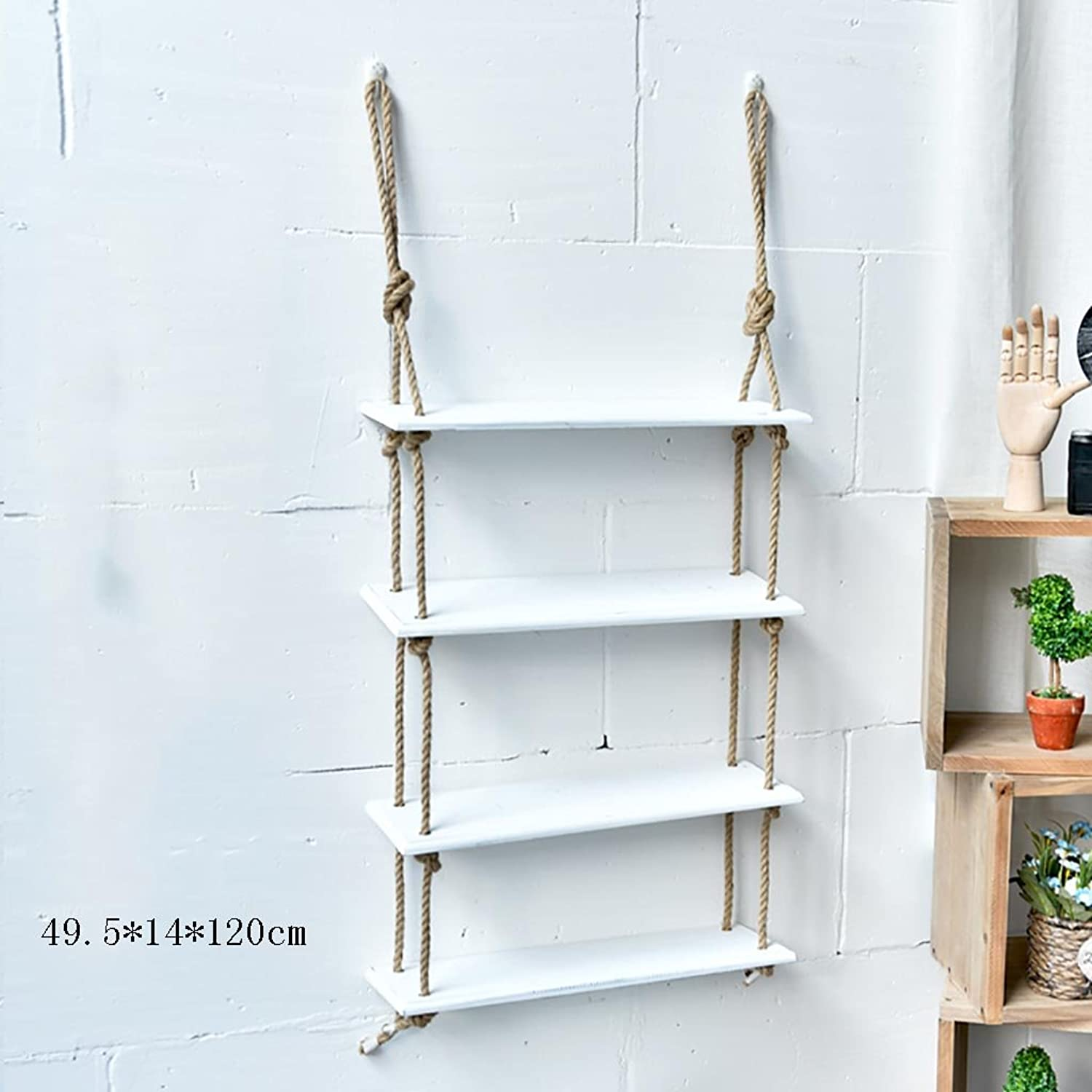 Decorative Accessories Wall Shelves Solid Wood Hemp Rope Hangers Creative Room Four-Storey Free Perforated Storage Shelves Floating Shelves (color   A)