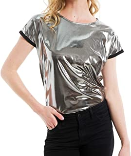 Liliam Unisex Shiny Metallic Liquid Hip Hop Tops Blouse T-Shirt Tee for Party Clubwear Cosplay