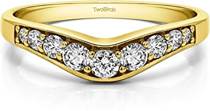 Diamonds (H,I2) Graduated Curved Wedding Band In 14k Yellow Gold(0.43Ct) Size 3 To 15 in 1/4 Size Interval