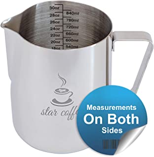 Star Coffee 30, 20 or 12oz Stainless Steel Milk Frothing Pitcher - Measurements on Both Sides Inside Plus eBook & Microfiber Cloth - Perfect for Espresso Machines, Milk Frothers, Latte Art