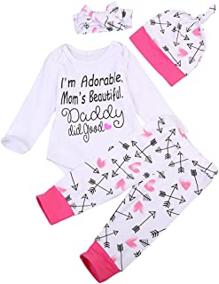 MA&BABY Newborn Infant Baby Boy Girl Famliy Saying Romper+ Pants+Headband+Hats Outfits