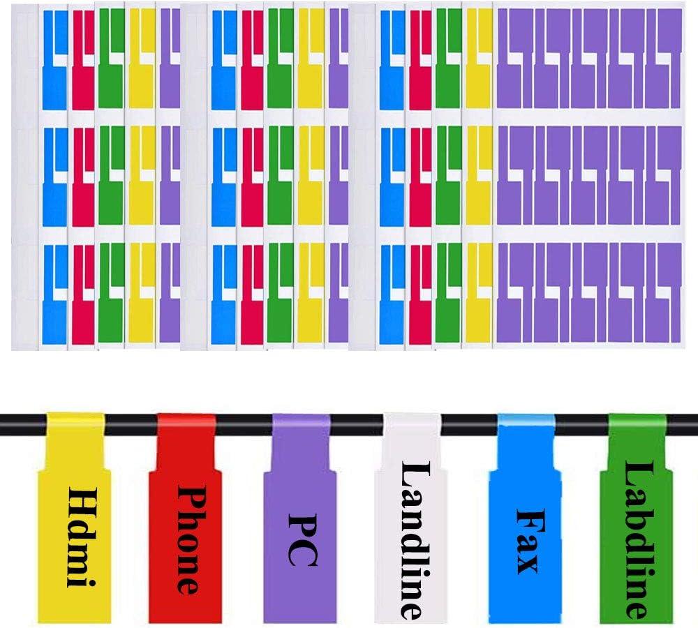 540 Piezas Cable Etiqueta, Etiquetas Para Cables, Etiquetas de Cable Autoadhesivas, Etiquetas Coloridas Autoadhesivas Resistentes Al Desgarro Para El Manejo de Cables, 18 Hojas (6 Colores)