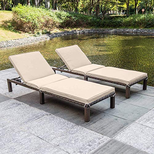 MAGIC UNION 2 Chaise Lounges Outdoor Patio Chaise Lounges Chairs for Outside Pool Adjustable Wicker Patio Chairs Set with Cushions (2 Lounges)
