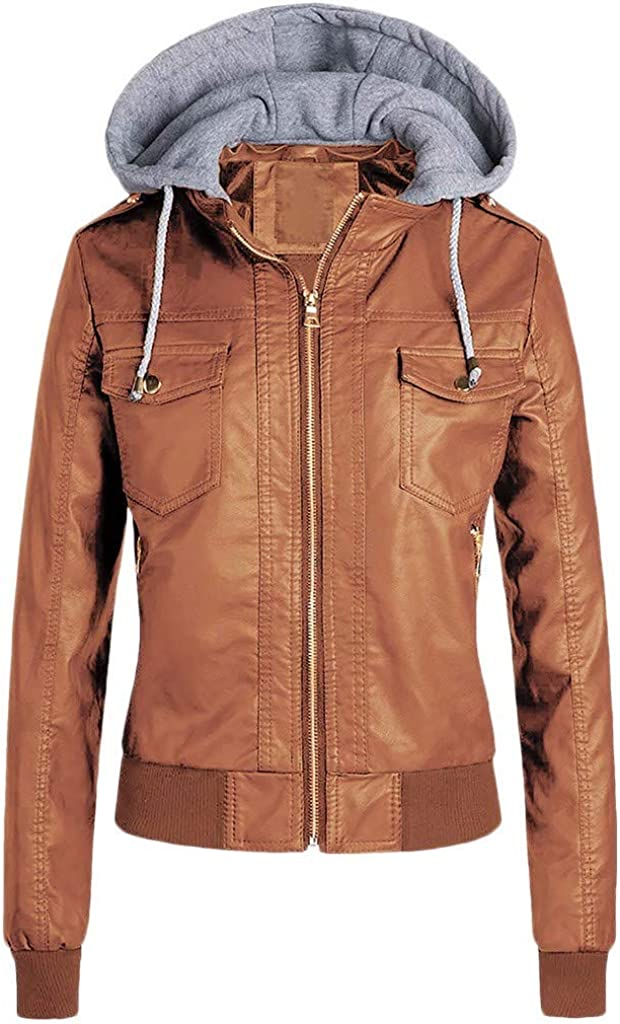 FORUU Women Slim Faux Leather Jacket,Comfy Fashion Trendy Removable Hooded Zipper Caps Warm PU Short Coats Outwear