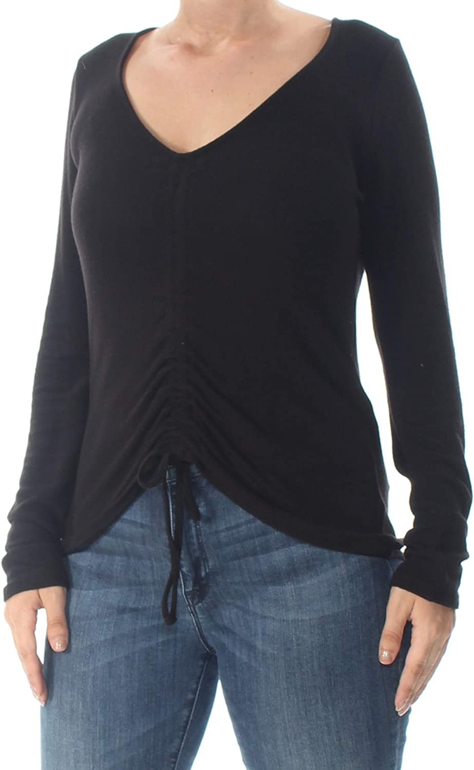 GUESS Womens Opal Ruched Pullover Blouse