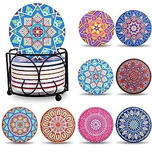 BEYAOBN Portavasos Conjunto de 8 Posavasos de cerámica con Piedra Absorbente de Corcho,Diseño Premium Taza de Bebida de café,10cm