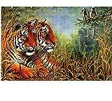 Kits Manualidades Pinturas para Lienzo Tigre Y Mono Pinturas con Numeros para Adultos Pinturas Oleo DIY Regalos 40X50Cm
