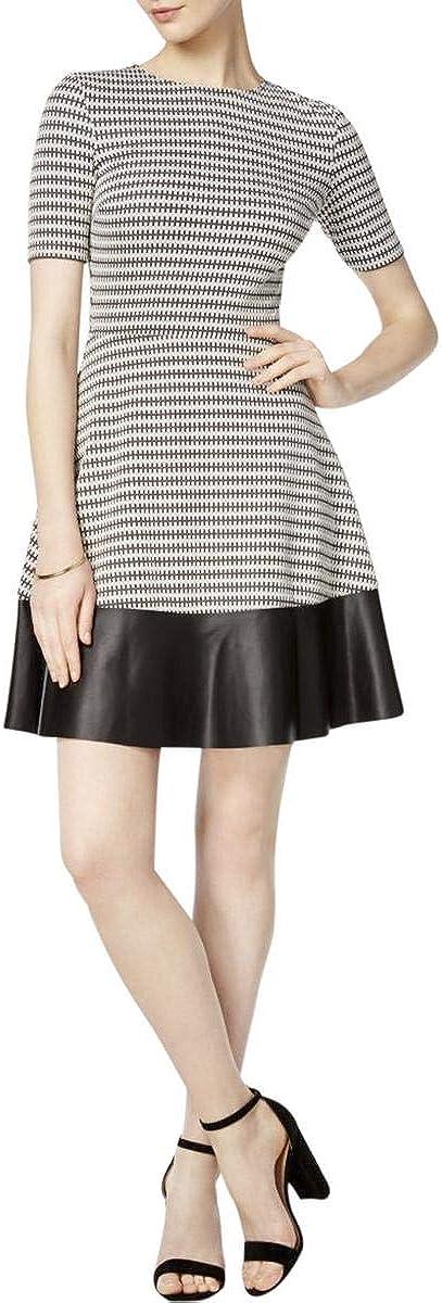 bar III Womens Faux-Leather-Trim Fit & Flare Dress