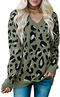 Tutorutor Womens Leopard Sweater Tops Oversized V Neck Cheetah Animal Print Loose Fit Knitted Fall Pullover Jumper