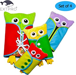 Extpro Learn to Dress Owl Doll Toys for Toddlers Early Education Basic Life Skills Teaching, Learn to Lace, Snap, Button, Zip, Tie and More (Owl)