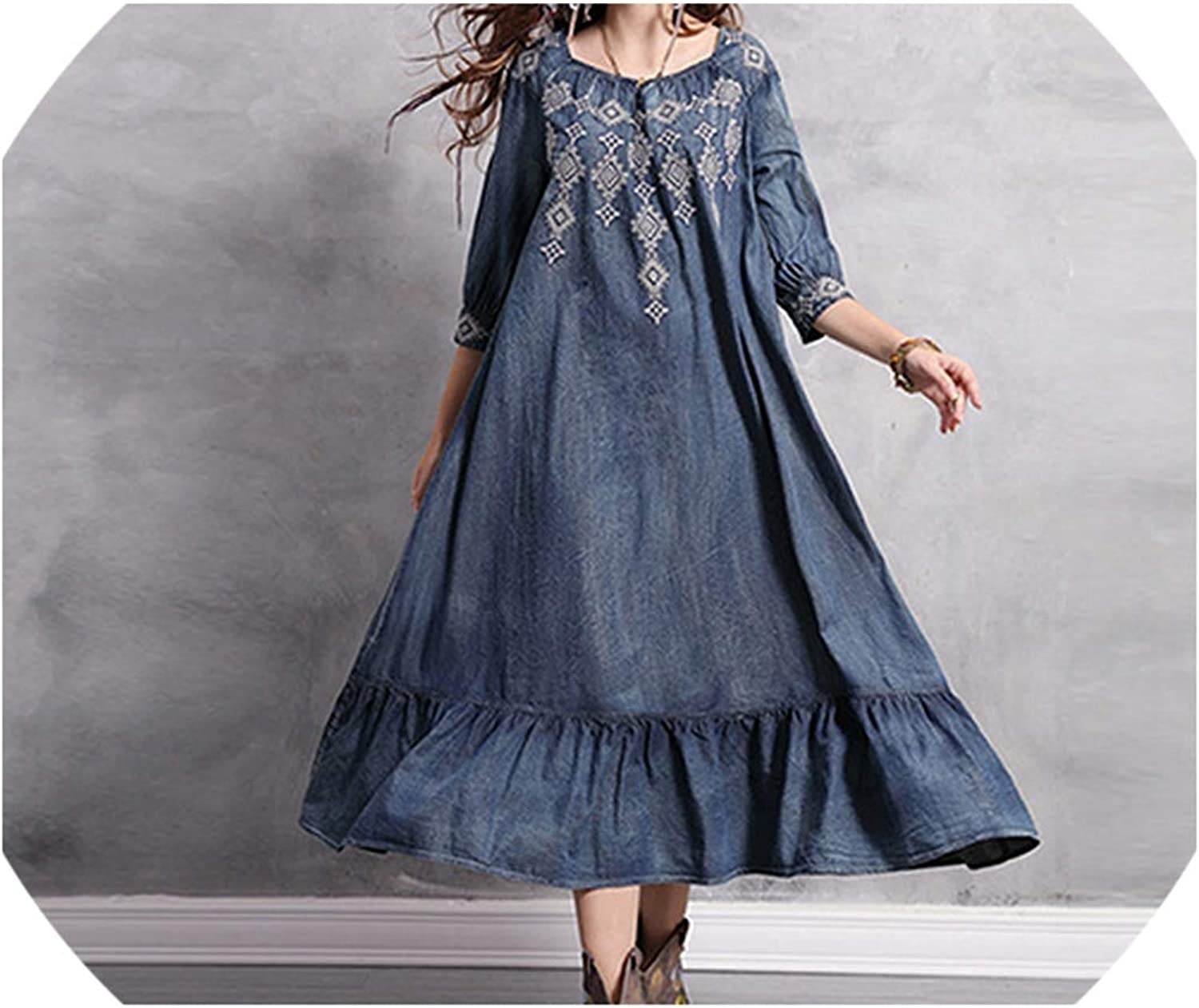 Denim Loose Dress for Women Summer Half Sleeve Ruffles Embroidery Vintage Maxi Dress Party Casual