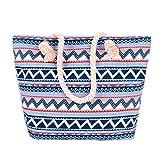 Neuleben Strandtasche mit Reißverschluss Damen Groß Shopper Fashion Tasche (Blau)
