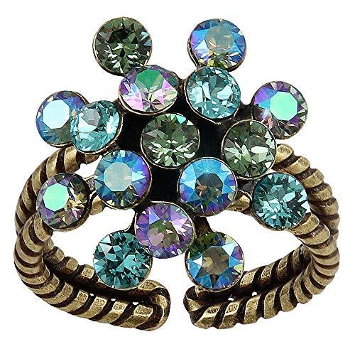 Konplott: Ring Magic Fireball mini mermaid green, toller klassischer Blütenring aus Kristallen in der kleineren Ausführung, blau-grün-schimmernde Kristalle, für Damen/Frauen