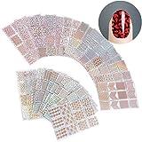 ZWOOS 288 Pezzi Differenti Set d'Unghie Vinili Francesi Adesivi Forma Fringe Guide Stencil Carino Facile Unghie Arte Vinili Stencil Fogli, 24 Fogli