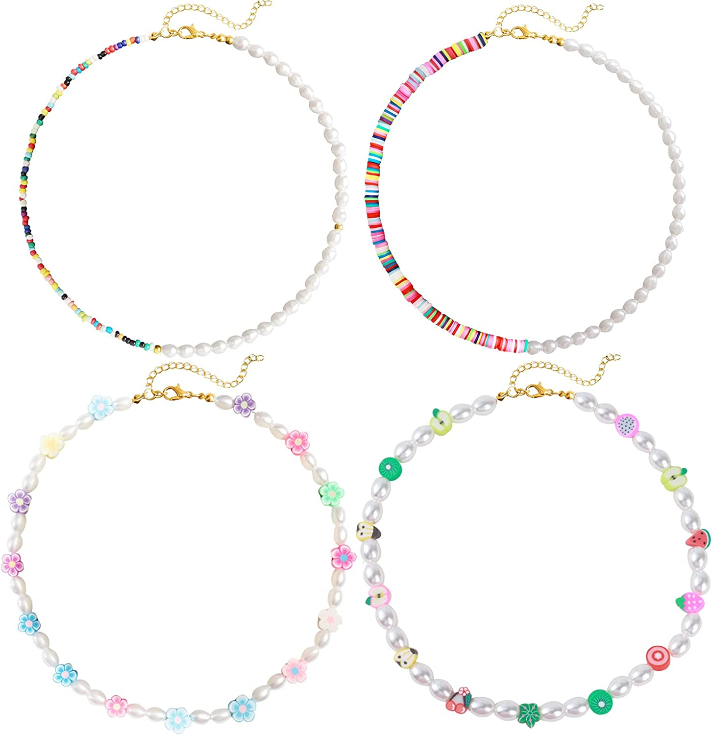 4Pcs Y2K Beaded Choker Necklaces for Women Colorful Bead Face Pearl Necklace for Girls (4 Colorful Necklaces)