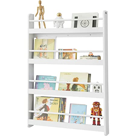 SoBuy KMB08-W Librería Infantil para niños con 4 estanterías, Estantería de Pared,Blanco,H118cm,ES