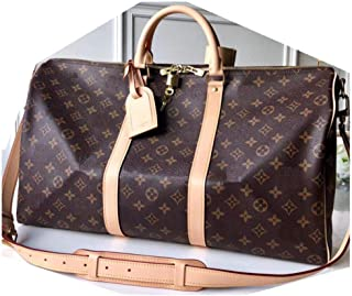 MARIA SCHROEDER Production Iconic Famous Spacious DUFFLE BAG BIG Size 45 cm Brown Color Amazing Canvas Material With Logos Casual Travel Luggage Sport Fitness GYM Leather Handles with Crossbody Strap