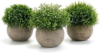 GoMaihe Plantas Artificiales Plásticas de Maceta, 3Piezas, Planta Artificial Decorativa, Adecuado para El Hogar Oficina De...