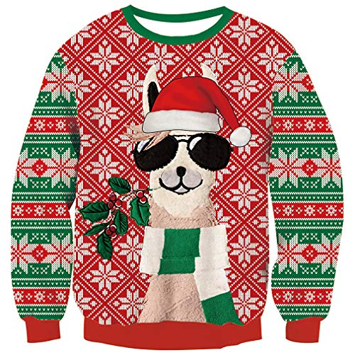 Goodstoworld Christmas Pullover Damen Herren Ugly Weihnachtspullover Neuheit Unisex Hässliche Weihnacht Sweater Strick Pullover Jumper