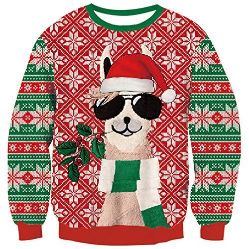 Goodstoworld Xmas Pullover Herren Damen Weihnachtspullover Ugly Christmas Sweater Pullover Unisex Neuheit Strickpullover