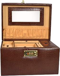 Stones Bridge Genuine Leather Jewellery Box. Jewellery Box, Vanity Box for Women (Brown)