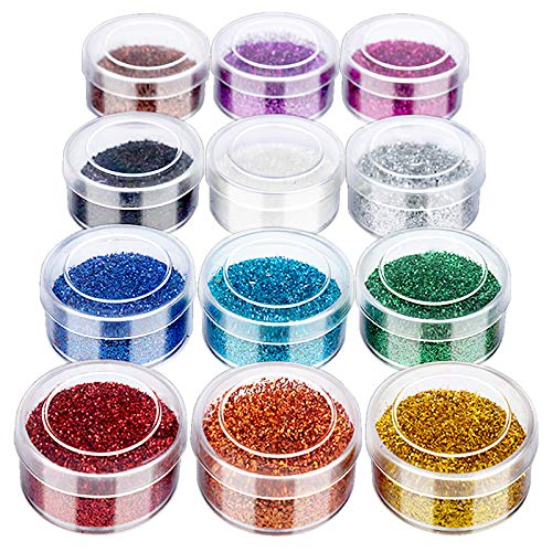 12 Colors Fine Glitter, FANDAMEI 12 Boxes 5g Superfine Nail Art Glitter, Fine Glitter Powder for Eyeshadow, Cosmetic, Body, Face, Halloween Makeup. Craft Glitter for Festival, Arts, Decoration