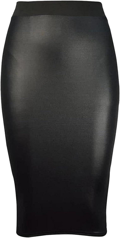 New Ladies Girls PVC Black Wet Look Band Body Tube Mini Skirt Size Plus UK 8-26