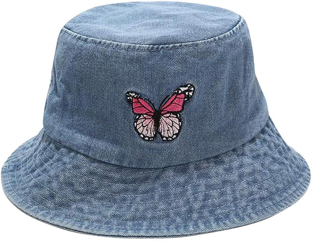 Hemlock Hat Women Sun Hat Girls Butterfly/Cow/Panda Print Double-Sided Fisherman Hat Outdoor Bucket Hat Caps