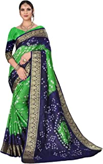Indian Woman Green blue Bandhej Art Silk Zari weaving Festival Bandhani Printed Saree Blouse Sari 6317