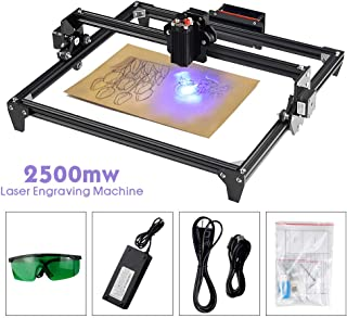 CNC Engraver Kits 2500mw DIY Wood Carving Engraving Cutting Machine 0.01mm High Accuracy Lightweight Desktop Printer Logo Picture Marking 45x40cm (17.7x15.8 Inch), Easy Use for Beginners