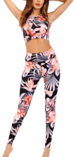 Women 2 Two Pieces Gym Yoga Clothing Green Halter Sports Crop Tank Top Tube Bra and High Waist Leggings Workout Suit Set